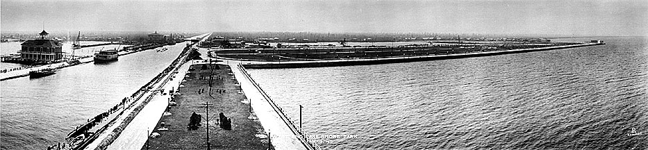 The New Basin Canal and adjacent West End Park in 1915, viewed from Lake Pontchartrain towards the City of New Orleans, three miles to the south
